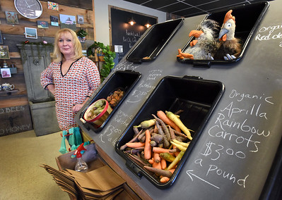 BRYAN EATON/Staff photo. Karen Tucker has opened the Joyful Harvest in Salisbury Square which offers a variety of items from organic carrots, to free range eggs and gourmet items.