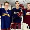 BRYAN EATON/Staff photo. Newburyport Hockey players, from left, Max Katavolos, Chase Pentelis and Jack Card.