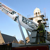 BRYAN EATON/Staff photo. The Newburyport ladder truck is positioned with St. Paul's steeple in the background.