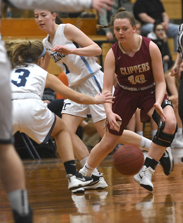 JIM VAIKNORAS/Staff photo Newburyport's Anna Hickman with a cross-over dribble at Triton Friday night.