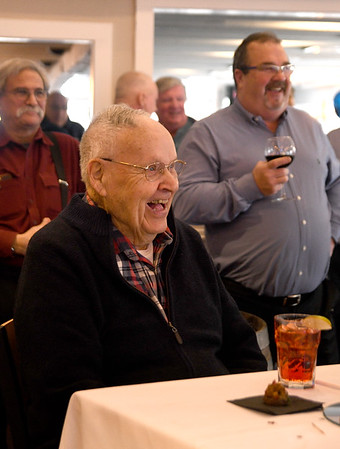 JIM VAIKNORAS/Staff photo Life long Amesbury resident Bill Ryan shares a laugh at his 95th birthday party at Michael's Harborside in Newburyport Saturday. Ryan is a decorated Navy veteran having served in Pacific during World War 2 about the battleship New Jersey. About 75 friend and family members attended the party.