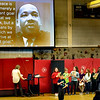 BRYAN EATON/Staff photo. Members of the Cashman School Student Council peformed small skits of parts of Marting Luther King's life during a remembrance of his life and work Thursday morning.