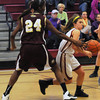 Newburyport: Newburyport's Aly Leahy makes a move on Whittier's Samnell Vonleh during their game at Newburyport high Monday. Jim Vaiknora/staff photo