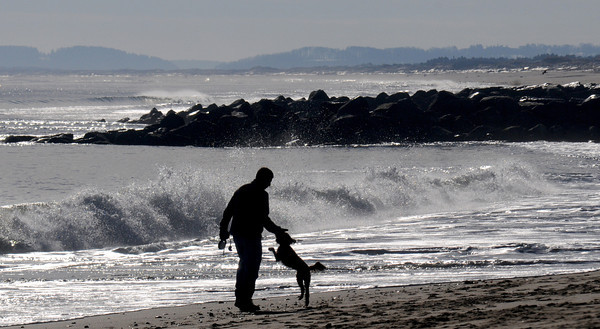 Newbury: Bram de Veer of Georgetown, plays with his dog Momo at low tide on Plum Island Sunday morning. Jim Vaiknoras/staff photo