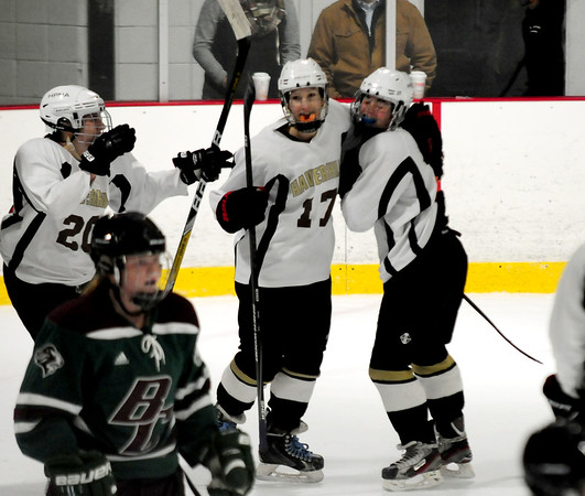 JIM VAIKNORAS/Staff photo haverhill player celebrate #17  North Andover's Katherine Capobianco's goal against Wednesday night at Veteran's Rink in Haverhill.