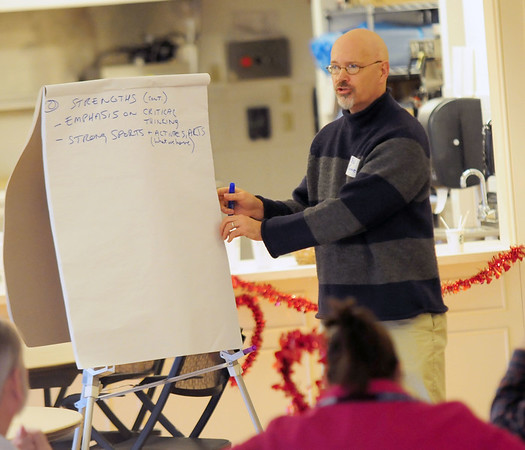 JIM VAIKNORAS/Staff photo  NewburyportCity Councilor Ed Cameron speaks at a budget workshop at the Senior Center in Newburyport Saturday morning.