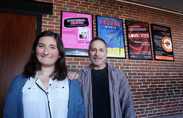 """BRYAN EATON/Staff photo. Sparhawk School student Lola Getz, with English and theater teacher Bob DeLibero, has written a play """"A Little Game of Life and Death"""" to performed at the Firehouse Center."""