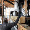 BRYAN EATON/File photos. Over two years of work on renovation of the First Religious Society's church and steele, also known as the Unitarian Church. Carpenters from American Steeple out of Salem took measurements for the placement of this girt which was put between corner posts to help resist wind loads on the steeple of the Unitarian Universalist Church in downtown Newburyport in November of 2015. Since renovation and repainting started a year ago, much more wear and damage to the structure has been discovered.