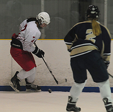 JIM VAIKNORAS/Staff photo Masco's Isabella Sarra controls the puck against William during their game at the Valley Forum in Haverhill Saturday