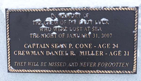 BRYAN EATON/Staff photo. The Fisherman's Memorial holds the plaque of the Lady Luck which sank 10 years ago.