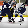 BRYAN EATON/File photos. Triton hosts Lynnfield. Triton forward Kyle McKendrey shoots the puck past Lynnfield's George DeRoche.
