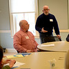 JIM VAIKNORAS/Staff photo  Newburyport School Committee member Bruce Menin speaks at a budget workshop at the Senior Center in Newburyport Saturday morning.