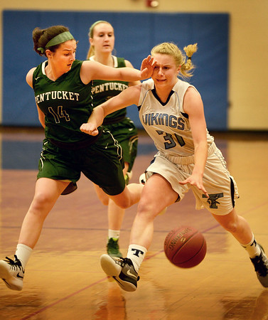 BRYAN EATON/Staff photo. Triton girls host Pentucket. It gets a little physical between Pentucket's Isabella Doyle and Triton's Erin Savage.