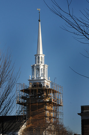 BRYAN EATON/File photos. Over two years of work on renovation of the First Religious Society's church and steele, also known as the Unitarian Church. The structual repairs to the steeple of First Religious Society Unitarian Universalist in Newburyport had been completed in January 2016. Cosmetic work, including the painting of new clapboards, remained to be completed.