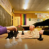 BRYAN EATON/Staff photo. Emma Crepeau, left, Ruby Blake-Nowak compete in a game of chess at the Newburyport Rec Center on Monday afternoon. The two eleven-year-olds both learned to play a year ago.