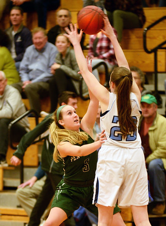 BRYAN EATON/Staff photo. Triton girls host Pentucket. Pentucket's Colleen Jameson covers Triton's Kate Carter.