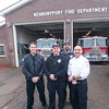 JIM VAIKNORAS/Staff photo Newburyport fire fighter, John Mesina, Bob Morse and John Stumboly and EMT Bob Piepiora pose at Station #2 in Newburyport Friday afternoon. On Thursday the 4 helped deliver a baby, Jayden Matombo  in front of the station.