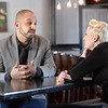 "BRYAN EATON/Staff photo. ""Small Business Revolution-Main Street""  host Amanda Brinkman interviews Crave Restaurant owner Sean Toomey on Thursday afternoon. Amesbury is one of the 10 finalist towns and cities to be chosen winner of the next installment of the show."
