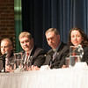 JIM VAIKNORAS/Staff photo From the left: Repesentatives, Lenny Mirra, Jim Kelcourse, Brad Hilll and Senator Kathleen O'Connor Ives at a forum on regional school finance at Triton High School Thursday night
