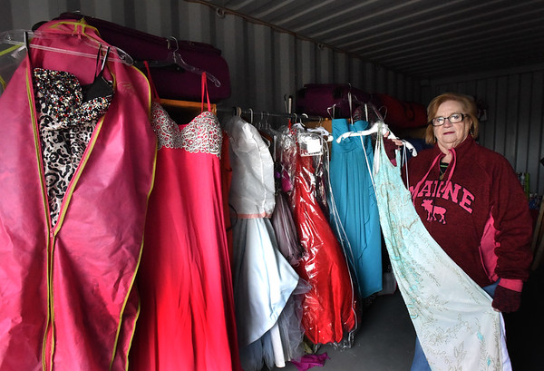 BRYAN EATON/Staff photo. Betty Vitale the founder of the charity prom dress boutique Tammi's Closet, has been giving away free prom dresses to high school-age girls since 2014 in memory of her late daughter. She has some in storage here in Merrimac and another spot in Haverhill.