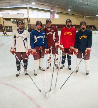JIM VAIKNORAS/Staff photo Newburyport hockey players , Ethan Coir, Jacob Grossi-Hogg, Matthew Marino-Bobcock, Francis Kearney IV, and Michael Twomey. they are all also on the golf team.
