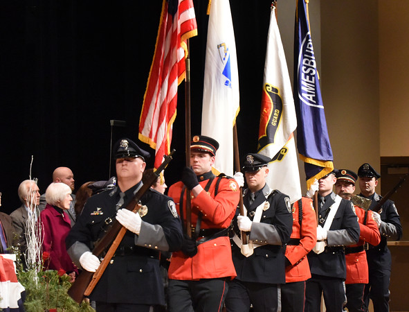 BRYAN EATON/Staff photo. The Amesbury Fire and Police Departments Honor Guard post the colors.