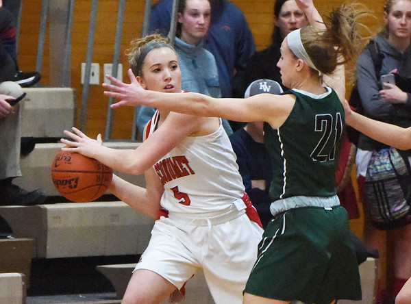 BRYAN EATON/Staff photo. Pentucket's Maddie Doyle puts the pressure on Masco's Paige Amyouny.