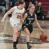 JIM VAIKNORAS/Staff photo Newburyport's Anna Hickman guards Triton's Jamie Bell at Newburyport Friday night.