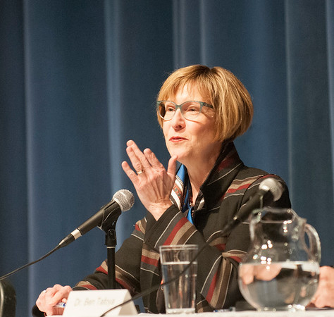 JIM VAIKNORAS/Staff photo State Auditor Suzanne Bump speaks at a forum on regional school finance at Triton High School Thursday night.