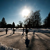JIM VAIKNORAS/Staff photo A group of kids from Triton Middle School play a pick-up hockey game on the Upper Green in Newbury Thursday.