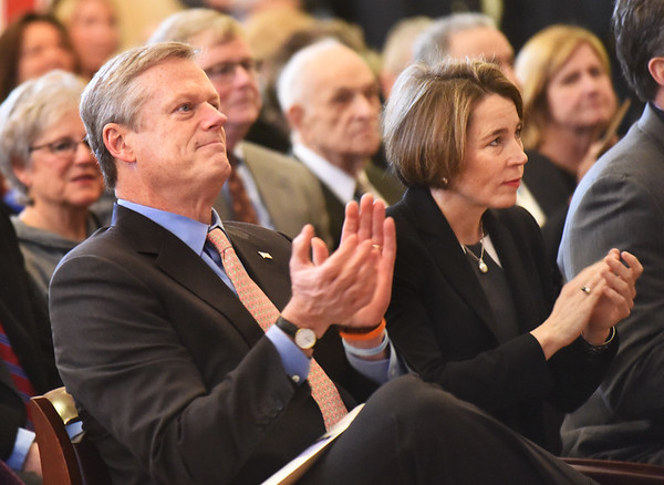 BRYAN EATON/Staff photo. Massachusetts Governor Charlie Baker and Attorney General Maura Healey, who both have Newburyport roots, attended the inauguration.