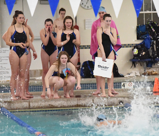BRYAN EATON/Staff photo. Triton swimmers cheer on their teammates.