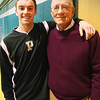 BRYAN EATON/Staff photo. Pentucket basketball player Gus Flaherty with his grandfather, legendary Pentucket High coach Tom Flaherty.