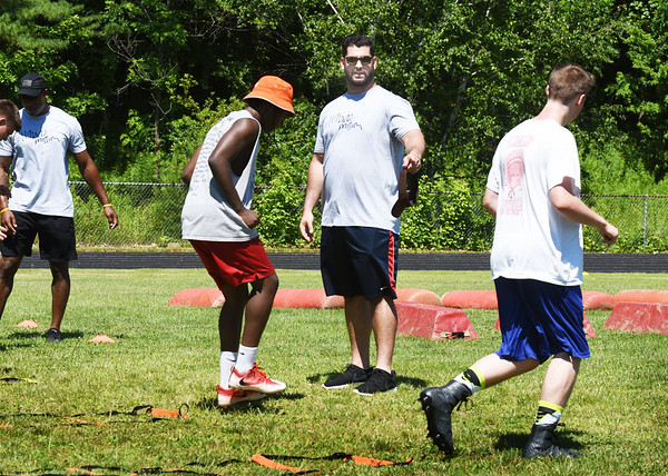 BRYAN EATON/Staff photo. Anthony Fabiano of the Cleveland Browns works at the camp on agility.