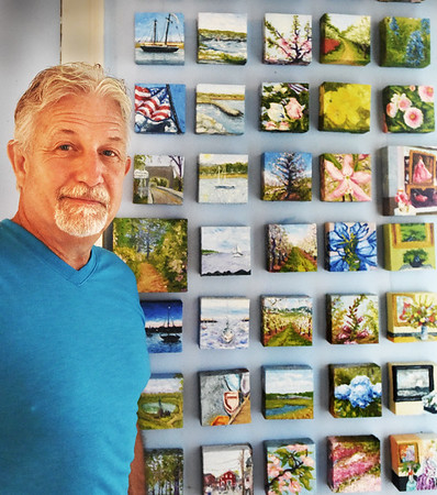 BRYAN EATON/Staff photo. Amesbury artist Ron Quinn has painted a mini piece of artwork every day for year, an homage to Dutch Post-Impressionist Vincent van Gogh who died of a self-inflicted gunshot wound and died 127 years ago today.