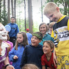 BRYAN EATON/Staff photo. Camp counselor Heidi Hansen laughs as Harrison Amaral, 9, right, delivered a whipped cream pie to her face at the Camp Kent Nature Center in Amesbury where several programs for the Amesbury Youth Services are held. It's tradition that if a camper has a birthday while at camp, they get to deliver a pie to the CIT or counselor of their choice.