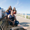 JIM VAIKNORAS/Staff photo Family of Gerry and Bob Byrne daughter Kathi Minahan, grand daughters Shana Murphy and Sasha Minahan , and great grandson Jaxson Murphy at a bench named in their honor on the new board walk on Salisbury Beach.