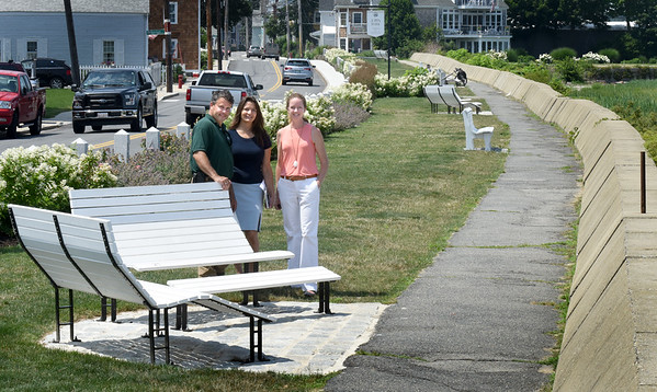 BRYAN EATON/Staff photo. At Newburyport's Joppa Park, from left, parks manager Michael Hennessey; Newburyport Parks Director Lise Reid and Kim Turner, chairman of the Newburyport Parks Commission.