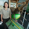 JIM VAIKNORAS/Staff photo  Nancy Pau, a biologist  Parker River Wildlife Refuge, stands next to a very large model of a green head fly at the Center on the Plum Island Turnpike.