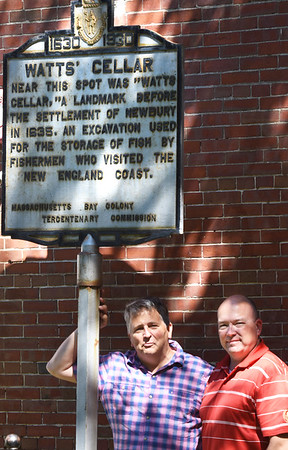 BRYAN EATON/Staff photo. Eric Getz, left, and Alex Cain are running the Untapped History Tour around Newburyport.
