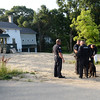 BRYAN EATON/Staff photo. The suspect was found in this house, left,  under construction on the new development Wright's Court which is off Toppan's Lane near Pettingell Park at Newburyport High School.