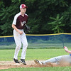 BRYAN EATON/Staff photo. Georgetown Jake Richards steals second as the Newburyport second baseman waited for the throw.