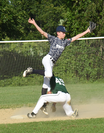 BRYAN EATON/Staff photo. Pentucket's Trevor Kamuda gets the steal from Triton second baseman Jake France.