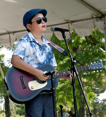 """BRYAN EATON/Staff Photo. Jeronimo Deyhle, 11, of Newburyport played two numbers including """"Old Town Road."""""""