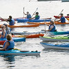 BRYAN EATON/Staff Photo. The recreational kayakers begin the Kayak and SUP Races at Cashman Park.