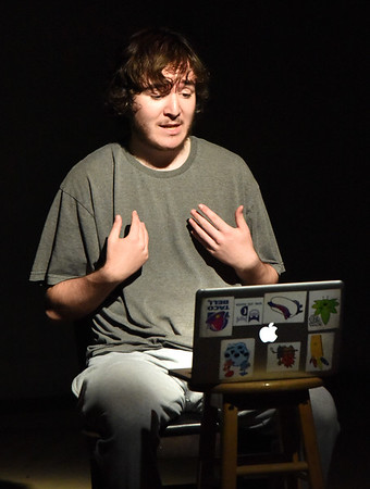 "BRYAN EATON/Staff Photo. John Hopwood as Kevin making a video blog about mental health in the play ""The Gen 2 Project."""