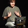 """BRYAN EATON/Staff Photo. John Hopwood as Kevin making a video blog about mental health in the play """"The Gen 2 Project."""""""