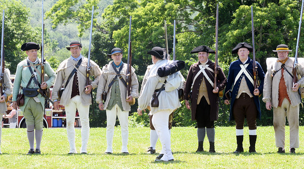 BRYAN EATON/Staff Photo. The Lexington Military Re-enactors were on hand at the West Newbury Bicentennial Field Day at Pipestave Hill on Saturday.