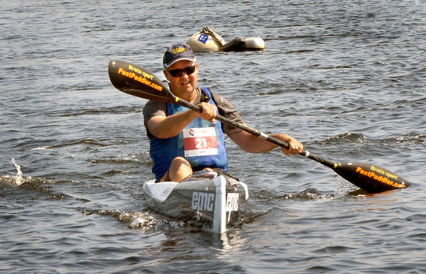 BRYAN EATON/Staff Photo. Bruce Deltorchio of Swampscott places second in the elite kayak class.