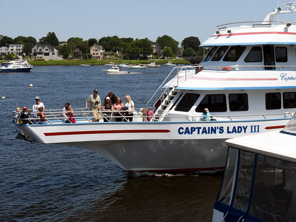 BRYAN EATON/File photo. The Captain's Lady III returned to Newburyport Harbor last year after a whale watch. Party boats, whale watches and excursion vessels are back in business but with social distancing to be observed.
